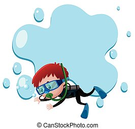Frame template with boy scuba diving