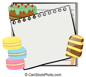 Frame template with cake and icecream
