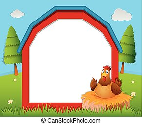 Frame template with chicken in the nest