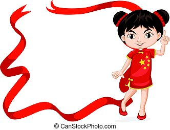 Frame template with Chinese girl in red costume