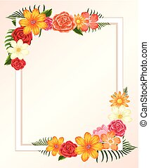 Frame template with colorful flowers and leaves