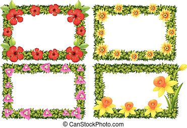 Frame template with colorful flowers