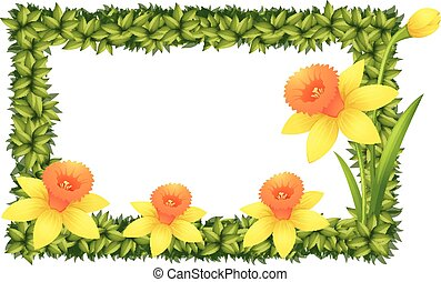 Frame template with daffodil flowers