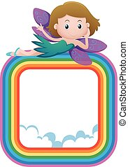 Frame template with fairy on rainbow