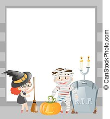 Frame template with halloween theme