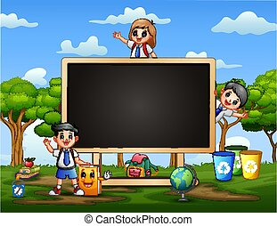 Frame template with happy kids and blackboard