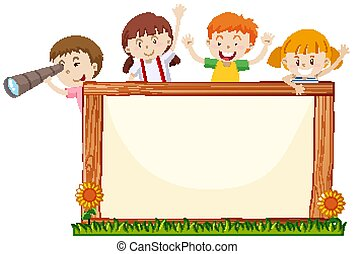 Frame template with happy kids and flowers