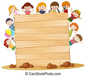 Frame template with happy kids around wooden board