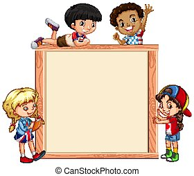Frame template with happy kids