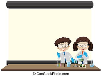 Frame template with happy kids in lab