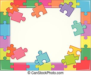 Frame template with jigsaw puzzle pieces