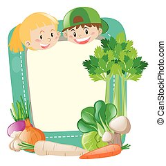 Frame template with kids and vegetables