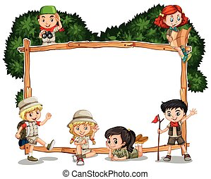 Frame template with kids in safari outfit illustration