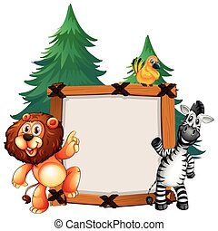 Frame template with lion and zebra
