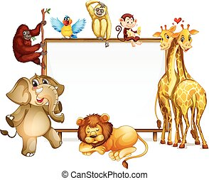 Frame template with many wild animals