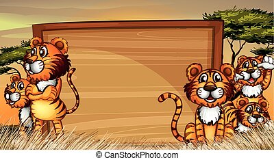 Frame template with tigers in the field