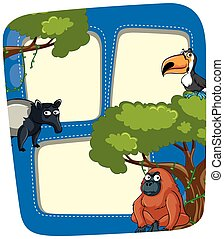 Frame template with wild animals in jungle