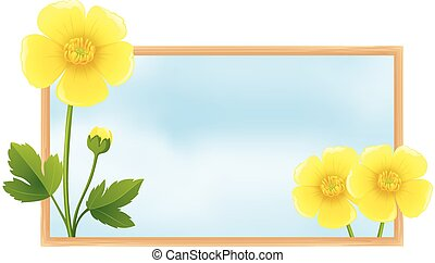 Frame template with yellow buttercup flowers
