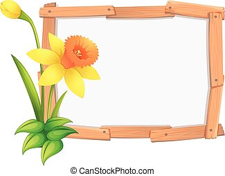 Frame template with yellow daffodil flowers