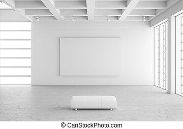 frame, tentoonstelling, lege, zaal