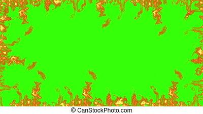 frame, van, echte, vuur, vlammen, branden, beweging, op, chroma, klee, groene, scherm, achtergrond, lus, seamless, gereed
