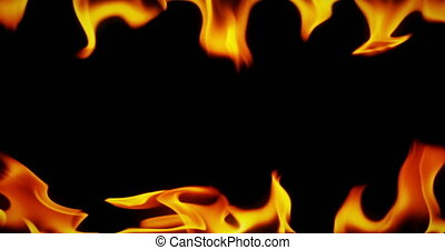 frame, van, echte, vuur, vlammen, branden, motie, op, zwarte achtergrond, seamless, lus, gereed