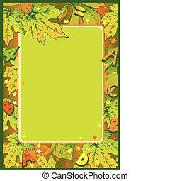 frame, van, herfst, leaves.