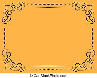 frame, vector, achtergrond, gele, sierlijk