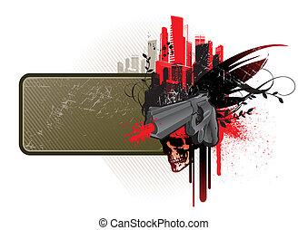 frame, vector, geweer, schedel, &