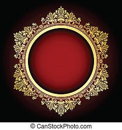 frame, vector, goud, rood