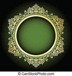 frame, vector, groene, goud, &