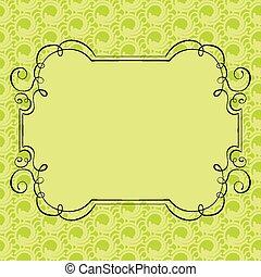 frame, vector, groene, retro, achtergrond, sierlijk