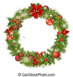 frame, vector, kerstmis, guirlande