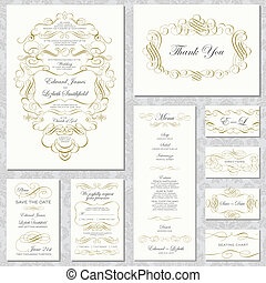 frame, vector, ornament, set, goud