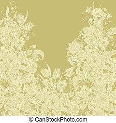 frame., vector, pastel, floral