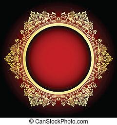 frame, vector, rood, goud