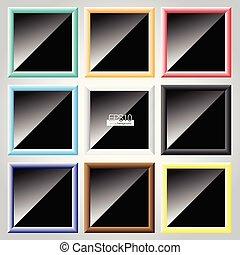 frame, vector, set, kleurrijke