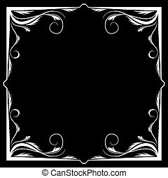 frame, vector, zwarte achtergrond, floral, witte