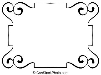 frame, vector, zwarte achtergrond, horizontaal, witte