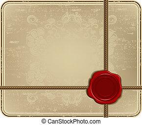 frame., vendemmia, cera, corda, vettore, sigillo, illustration.