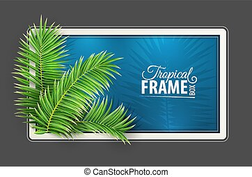 frame., verde, leaves., layout., tropicale, disegno, vector., palma, bandiera