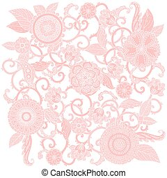 frame., vettore, pastello, floreale