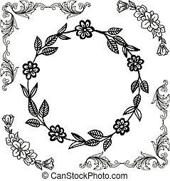 frame, vrijstaand, element, achtergrond., vector, ontwerp, floral, witte