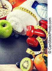 frame, vruchten, karaf, fitness, dumbbells, fris
