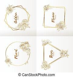 Frame Wedding Floral Ornament Handdrawn Rose Flower