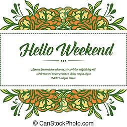 frame, weekend, lettering, vintage., vector, spandoek, roos, hallo, bloempatroon