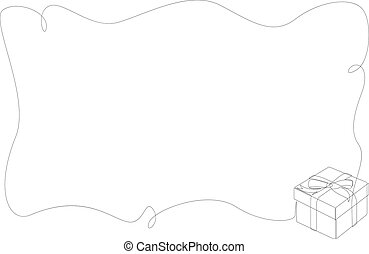 Frame with a gift box in corner. Continuous line drawing of gift box with ribbon bow. Template for your design works. Minimal style vector illustration.