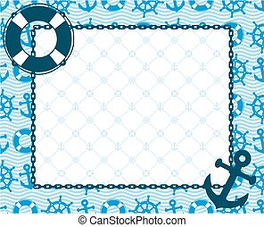 Frame with a sea subject. - A frame with the sea and ship...