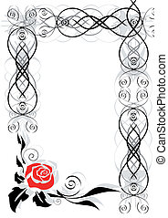Frame with abstract rose
