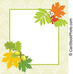Frame with acorns, rowan and maple